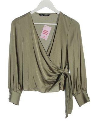 Zara Wickel-Bluse khaki Elegant