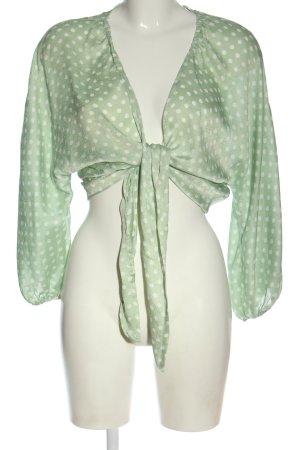 Zara Blusa cruzada verde-blanco estampado repetido sobre toda la superficie