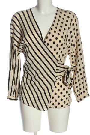 Zara Blouse portefeuille noir-crème motif de tache style d'affaires