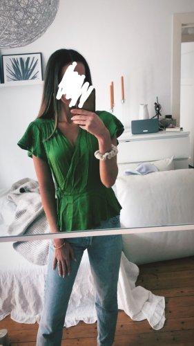 Zara Kopertowa bluzka zielony
