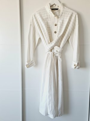 ZARA Wickelkleid, weiß, Streifen, geknöpft, Leinen, Hemdblusen-Kleid