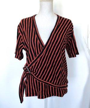 Zara Wickelshirt Gr. M Rot Schwarz gestreift Shirt