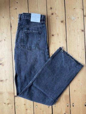 Zara Jeansy z prostymi nogawkami ciemnoszary