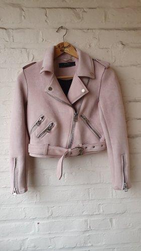 Zara Chaqueta de cuero de imitación rosa-rosa claro