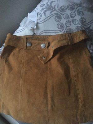 Zara Leather Skirt multicolored suede