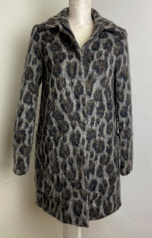 * ZARA * WINTER MANTEL Wolle Mix Leo Print braun grau KURZ MANTEL Gr XS 34