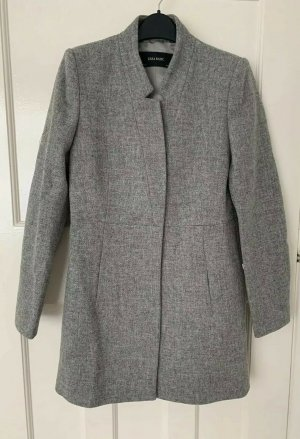 ZARA Winter Wolle MANTEL JACKE Trenchcoat grau military L 36 38 8190/886
