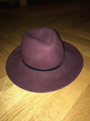 Zara Accesoires Chapeau en feutre bordeau laine