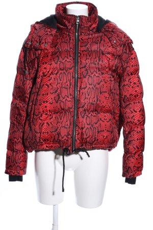 Zara Winterjacke rot-schwarz abstraktes Muster Casual-Look