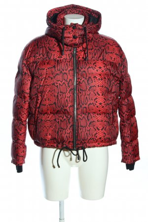 Zara Winterjacke rot-schwarz Allover-Druck Casual-Look