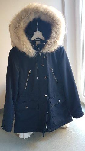 ZARA Winterjacke Faux Fur Kapuze
