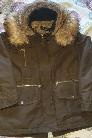 Zara Woman Kurtka zimowa szaro-brązowy-ochra