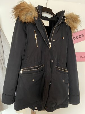 Zara Hooded Coat black-gold-colored