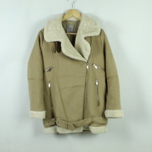 ZARA Wintermantel Gr. M beige Fake Fur (20/11/115*)