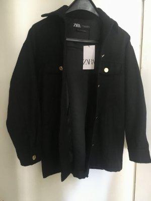 Zara Giacca di lana nero Lana