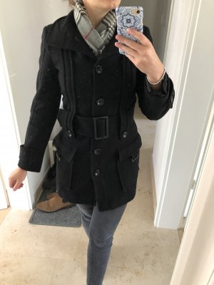 Zara Basic Abrigo de lana negro