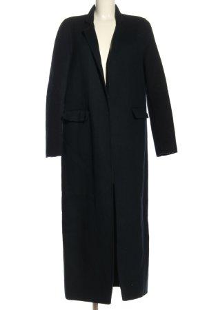 Zara Wełniany płaszcz czarny W stylu casual