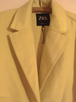 Zara Woman Abrigo ancho amarillo claro Lana