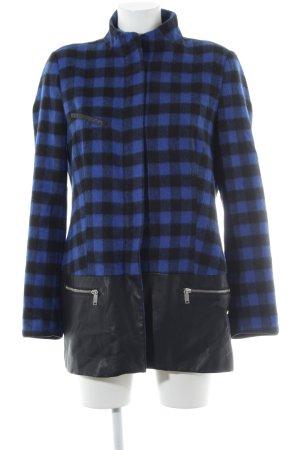 Zara Wollmantel schwarz-blau Karomuster extravaganter Stil