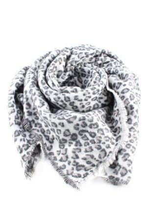 Zara Bufanda de lana blanco-gris claro estampado de animales look casual