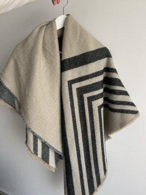 Zara Bufanda de lana beige claro-negro