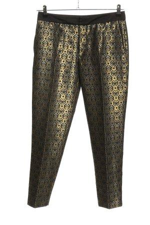 Zara Woman 7/8-Hose goldfarben-hellgrau Allover-Druck Casual-Look