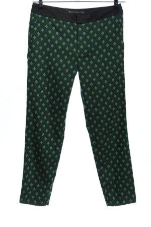 Zara Woman 7/8-Hose schwarz-grün Allover-Druck Casual-Look