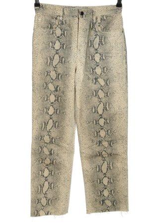 Zara Woman 7/8-Hose creme-schwarz Animalmuster Casual-Look