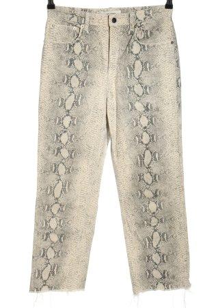 Zara Woman 7/8-Hose weiß-grün Allover-Druck Casual-Look