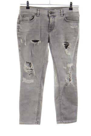 Zara Woman Jeansy 7/8 jasnoszary W stylu casual