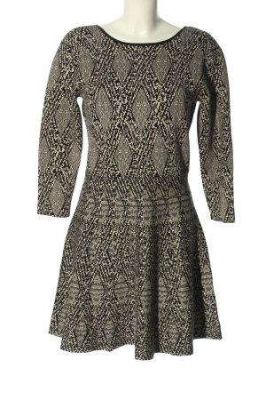 Zara Woman A-Linien Kleid schwarz-wollweiß Allover-Druck Casual-Look