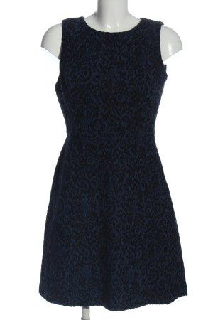 Zara Woman A-Linien Kleid schwarz-blau Allover-Druck Casual-Look