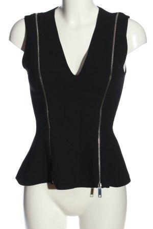 Zara Woman ärmellose Bluse schwarz-silberfarben Casual-Look