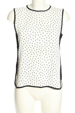 Zara Woman ärmellose Bluse weiß-schwarz Punktemuster Casual-Look