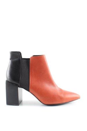 Zara Woman Ankle Boots hellorange-schwarz Casual-Look