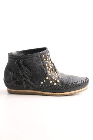 Zara Woman Ankle Boots schwarz-goldfarben Party-Look