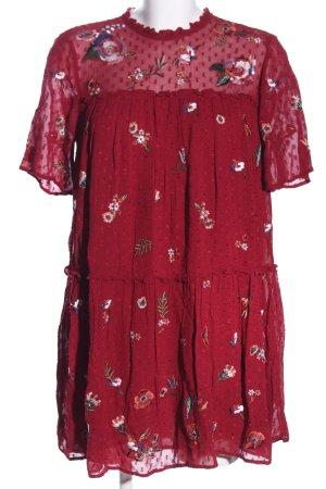 Zara Woman Babydollkleid rot Blumenmuster Casual-Look