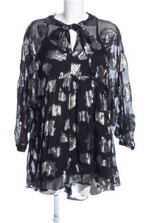 Zara Woman Vestido babydoll negro estampado con diseño abstracto look casual