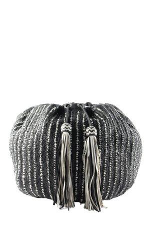 Zara Woman Beuteltasche schwarz-hellgrau Streifenmuster Casual-Look