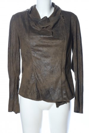 Zara Woman Bikerjacke braun-khaki Farbverlauf Casual-Look