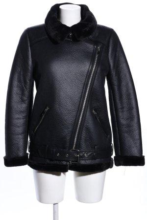 Zara Woman Giacca da motociclista nero stile casual