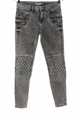 Zara Woman Bikerjeans hellgrau-schwarz Casual-Look