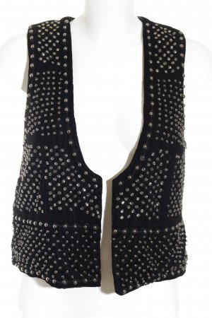 Zara Woman Biker Vest black-silver-colored Rivet elements