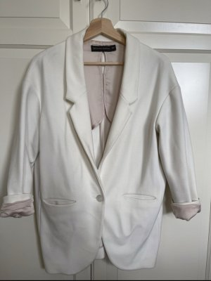 Zara Woman Blazer stile Boyfriend bianco-bianco sporco