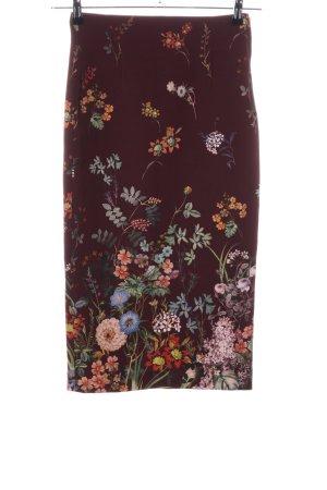 Zara Woman Jupe crayon brun motif de fleur élégant