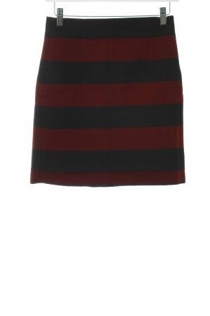 Zara Woman Bleistiftrock schwarz-karminrot Streifenmuster schlichter Stil