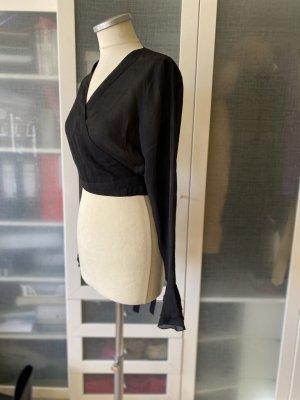 Zara Woman Kopertowa bluzka czarny