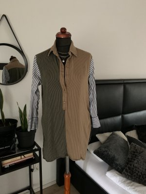 Zara Woman Bluse gestreift Oliv Khaki