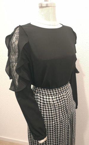 Zara Woman Bluse mit Spitzeneinsatz & Volants