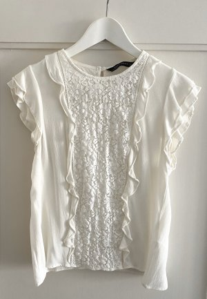 Zara Woman Bluse / Top Spitze Rüschen weiß